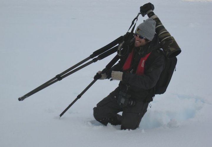 Christopher in Antartica photographing